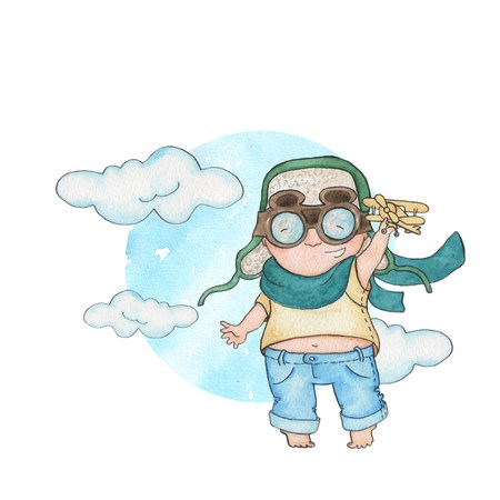role play: Little pilot 2. Watercolor painting .. Handmade drawing.