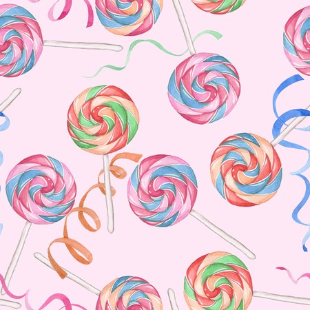 candy canes: Candy canes on a pink background. Seamless pattern. Watercolor drawing