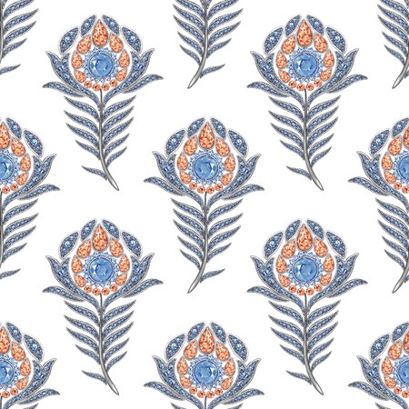 admirable: Peacock jewelry the feather. Seamless pattern, watercolor hand-drawing. On a white background Stock Photo