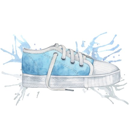 water spray: Blue shoes and water spray. Handmade drawing