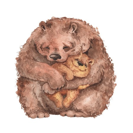Mama bear and baby bear. Watercolor illustration. Handmade drawing.