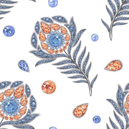 admirable: Peacock jewelry the feather 4. Seamless pattern, watercolor hand-drawing. Background