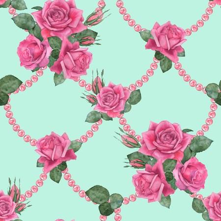 Rosen mit Perlen 3. nahtlose Blumenmuster . Aquarellillustration . Handzeichnung Standard-Bild