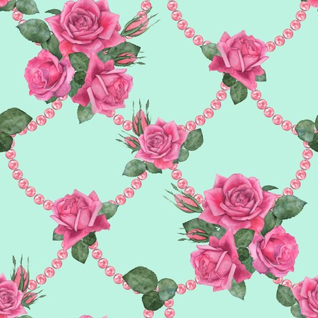 Roses with pearls 3. Seamless floral pattern. Watercolor illustration. Hand drawing 版權商用圖片