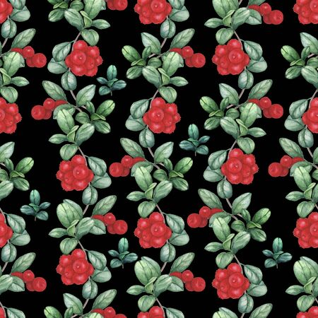 Cowberry 4. Seamless watercolor pattern. Hand-drawing Stock fotó