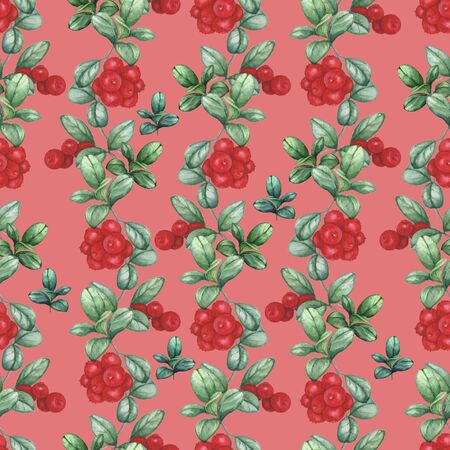 Cowberry 3. Seamless watercolor pattern. Hand-drawing