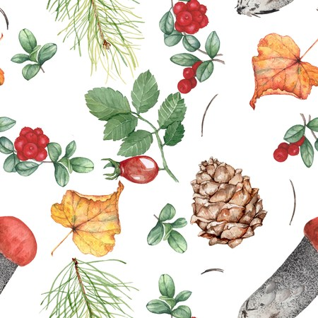 Autumn seamless pattern with forest theme 2. Watercolor illustration, hand-drawing