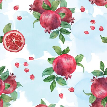 Seamless pattern of pomegranate fruit on a watercolor background 2. Watercolor painting