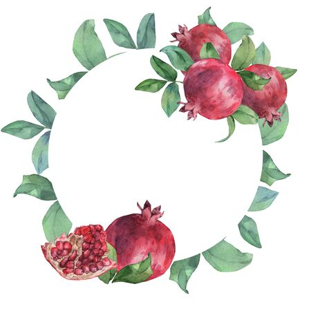 Round frame of pomegranates and leaves. Watercolor illustration. Isolated on white. Suitable for issuing invitations, labels 스톡 콘텐츠