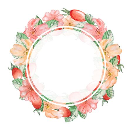 Round frame of flowers, and fruit of the wild rose. Watercolor illustration. Decorative element for greeting card, Invitation card.
