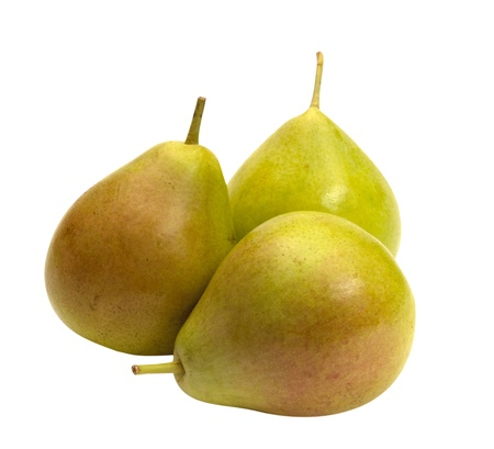 Three pears on a white isolated on white background