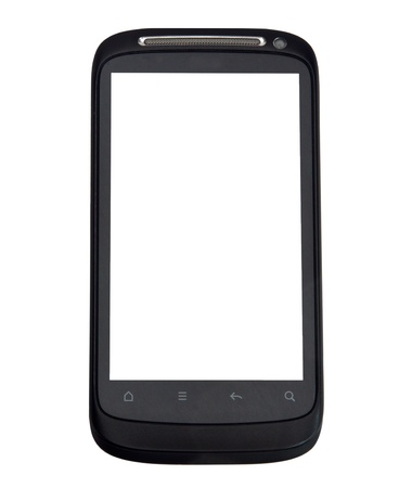 Close up shot of smart phone isolated on white background