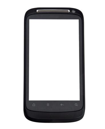 phone button: Close-up shot van slimme telefoon geïsoleerd op witte achtergrond Stockfoto