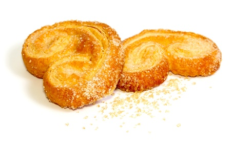 puff: Palmera (Palmier) sweet puff pastry isolated on white
