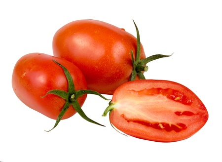 red tomatoes vegetable with one sliced isolated on white background