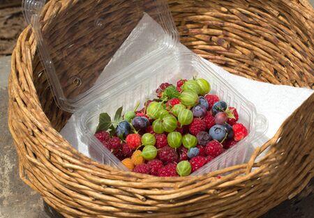 different fresh berries in basket closeup shot
