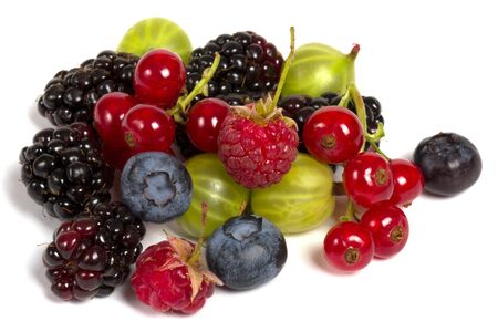 different fresh berries isolated on white closeup shot