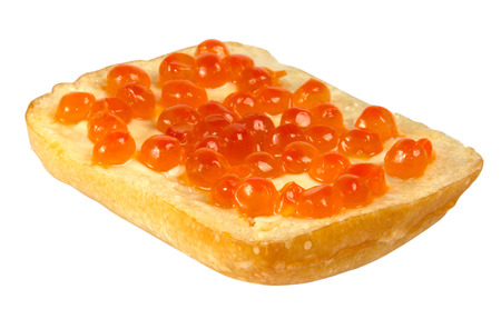 Sandwich with red caviar on white background