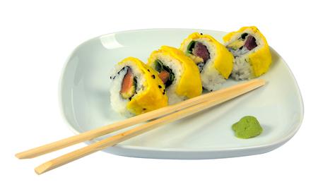 Sushi with scrambled eggs Фото со стока