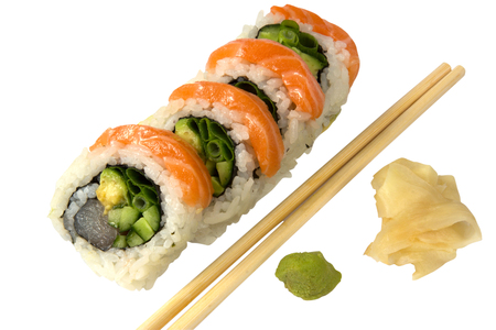 Sushi with salmon ginger and wasabi