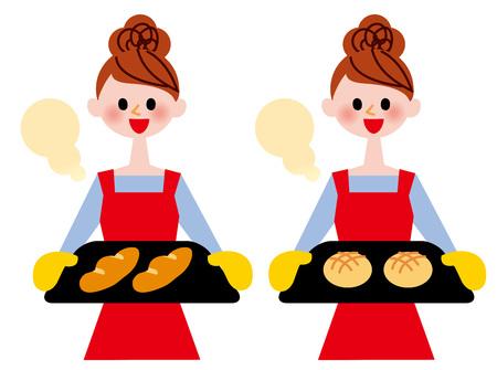 Women cook illustration