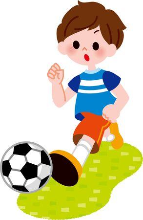 The boy who kicks the ball Foto de archivo - 132075030