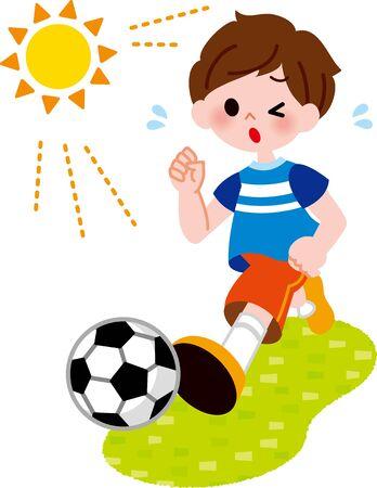 The boy who kicks the ball Foto de archivo - 132075161