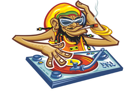 playing a record and smoking   cigarette a cartoon comic Dj monkey with glasses and jamaica hat Vector