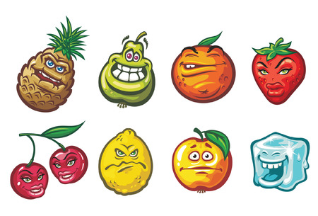 pineapple juice: A cartoon funny fruits  in a variety of moods: a cherry, a pineapple, a lemon, an apple, an orange, a strawberry