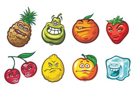 Un divertido dibujo animado de frutas en una variedad de estados de ánimo: una cereza, una piña, limón, una manzana, una naranja, una fresa