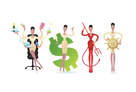 A cartoon business Woman in a variety of poses with some attribute of different  work's situations.  Illustration