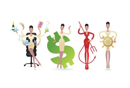 busy person: Una mujer de negocios de dibujos animados en una variedad de poses con algunos atributos de las diferentes situaciones de las obras.