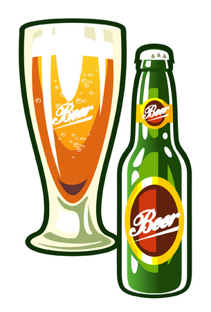 A vector  bottle and a glass of beer Illustration