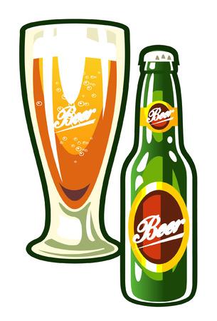 cerveza negra: Un vector botella y un vaso de cerveza