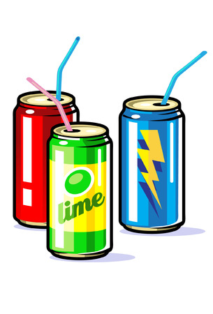 sodas: A vector beverages in tin  cans with straws