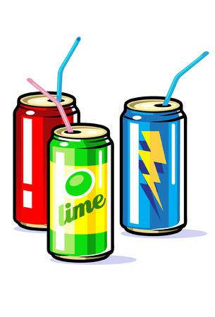 latas: Un vector en latas de bebidas con pajitas