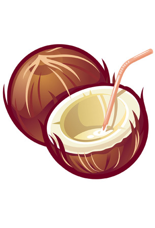 A vector stylized coconut with straw