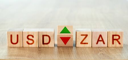 usd zar concept. wooden blocks with the names of trading instruments in the foreign exchange market Stock fotó