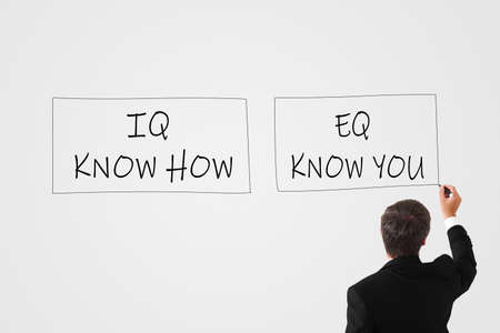 IQ Know How and EQ Know You concept. man writes with a marker on a white wall IQ Know How and EQ Know You