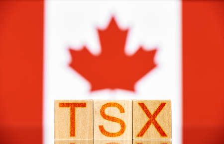 tsx. wooden blocks with tsx lettering on canada flag background 写真素材