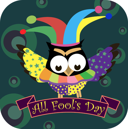 Concept on the world day of laughter April 1, clown owl