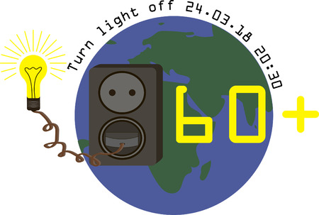 Illustration of earth hour. The lamp is powered from an outlet
