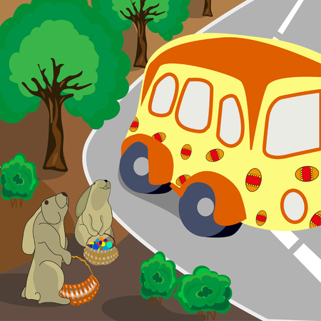 Easter bunny is standing by the side of the road, vector Illustration