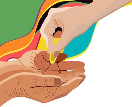 Hand giving alms, corner design element