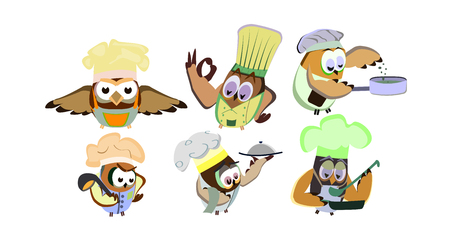 Funny owls, set on a chef theme, on an isolated background, vector