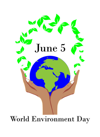 World environment day concept, hand holds the planet earth 免版税图像 - 104422761