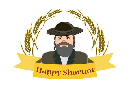 Shavuot Banner - Shavuot festive banner with the image of a Jew, on an isolated background
