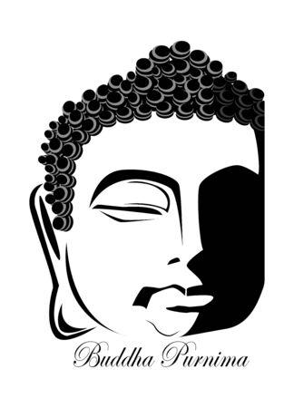 Illustration Of Vesak Day Or Buddha Purnima, silhouette of Buddha face on isolated background, inscription