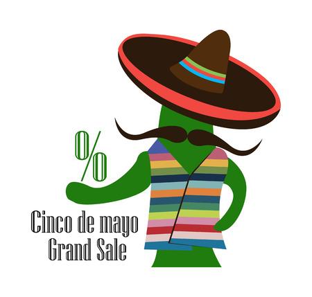 Concept for sale at Cinco de Mayo, cactus in the sombrero, vector 矢量图像