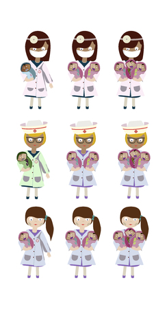 A set of characters, an obstetrician nurse holding a newborn, vector